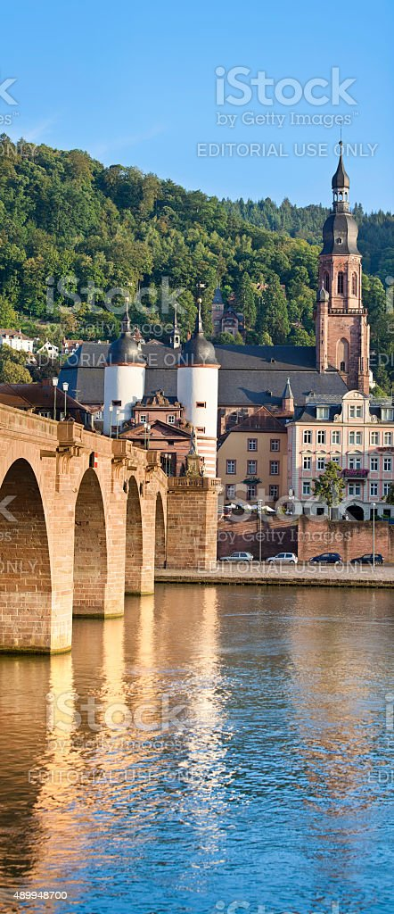 City of Heidelberg Germany with church and Old Bridge stock photo