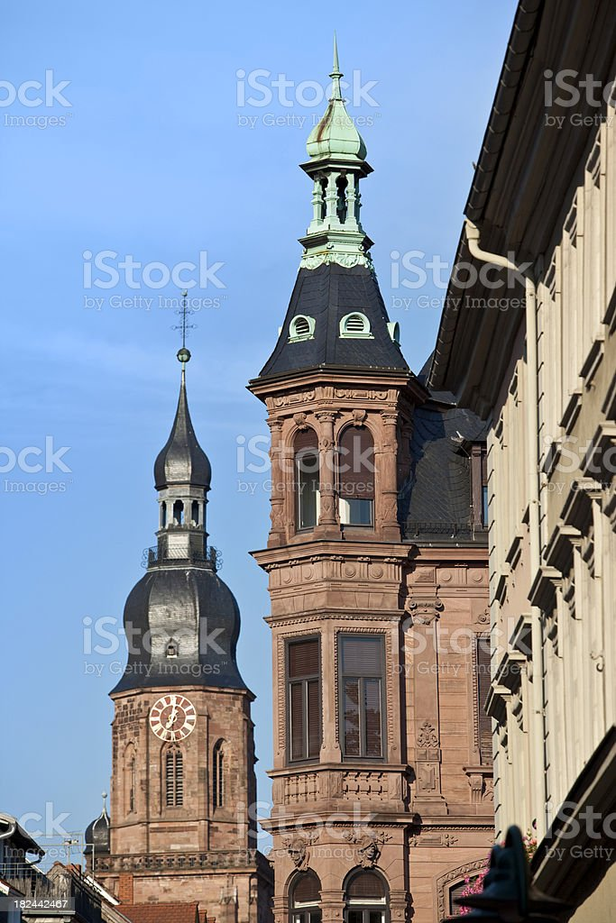 City of Heidelberg Germany with church tower stock photo