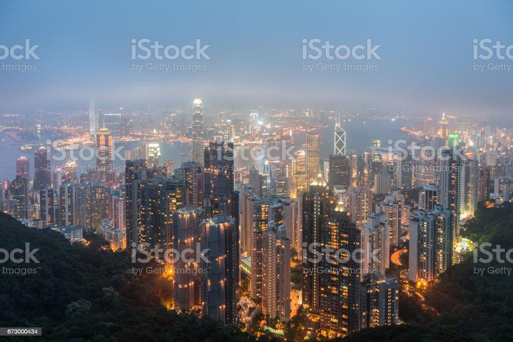 City of Hong Kong at Dusk View From Victoria Peak stock photo