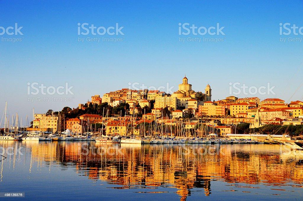 City of Imperia, Liguria, Italy during sunrise stock photo