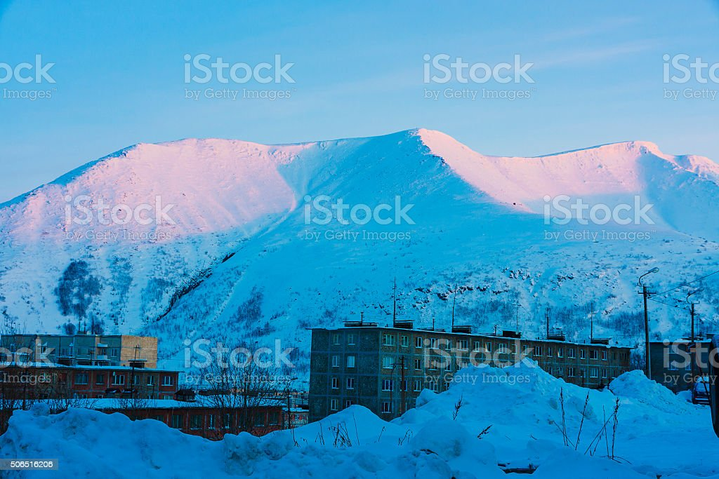 city of Kirovsk in the winter stock photo