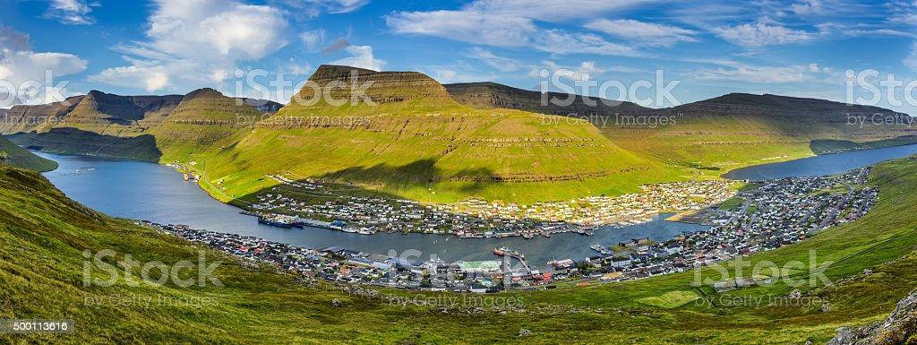 City of Klaksvik on Faroe Islands, Denmark stock photo