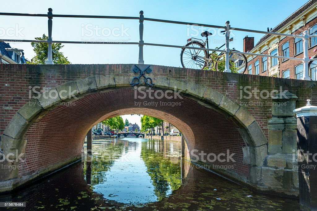 City of Leiden with his canals in early morning sun. stock photo