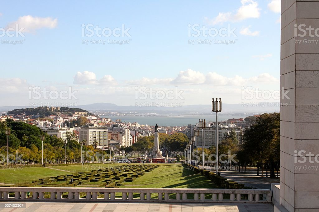 City of Lisbon Portugal ocean view stock photo