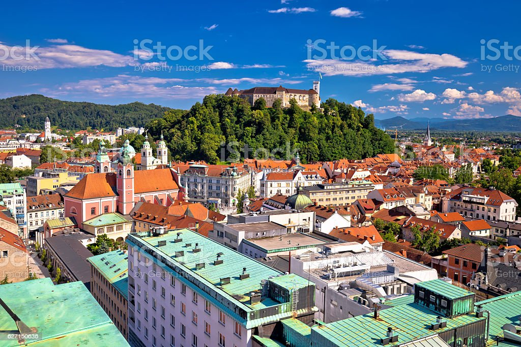 City of Ljubljana center aerial view stock photo