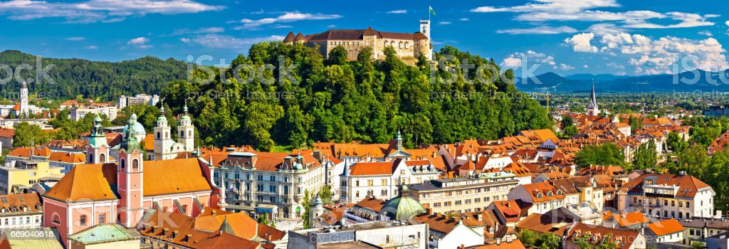 City of Ljubljana panoramic view, capital of Slovenia stock photo