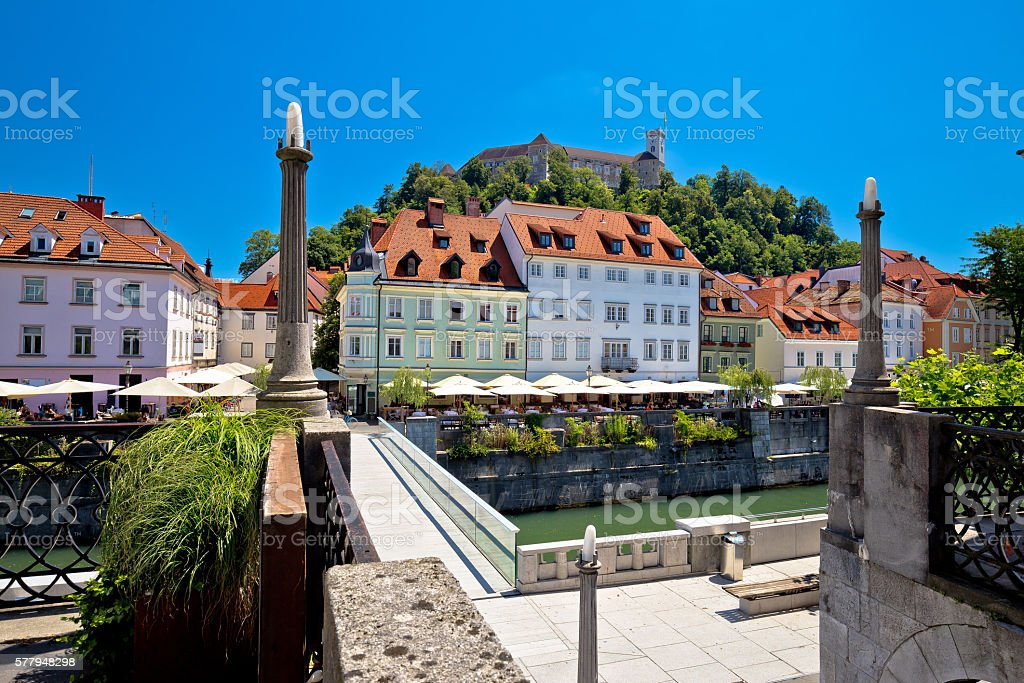 City of Ljubljana river waterfront architecture stock photo