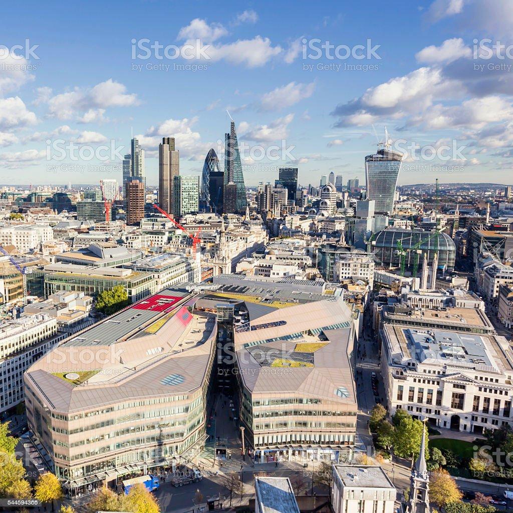 City of London and Canary Wharf's skyline stock photo
