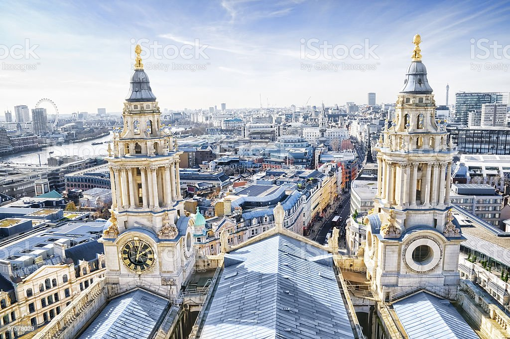 City of London and St. Paul`s Cathedral. stock photo
