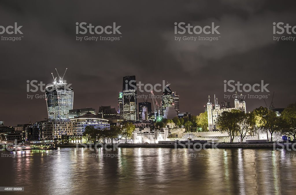 City of London and Tower fortress skyline stock photo
