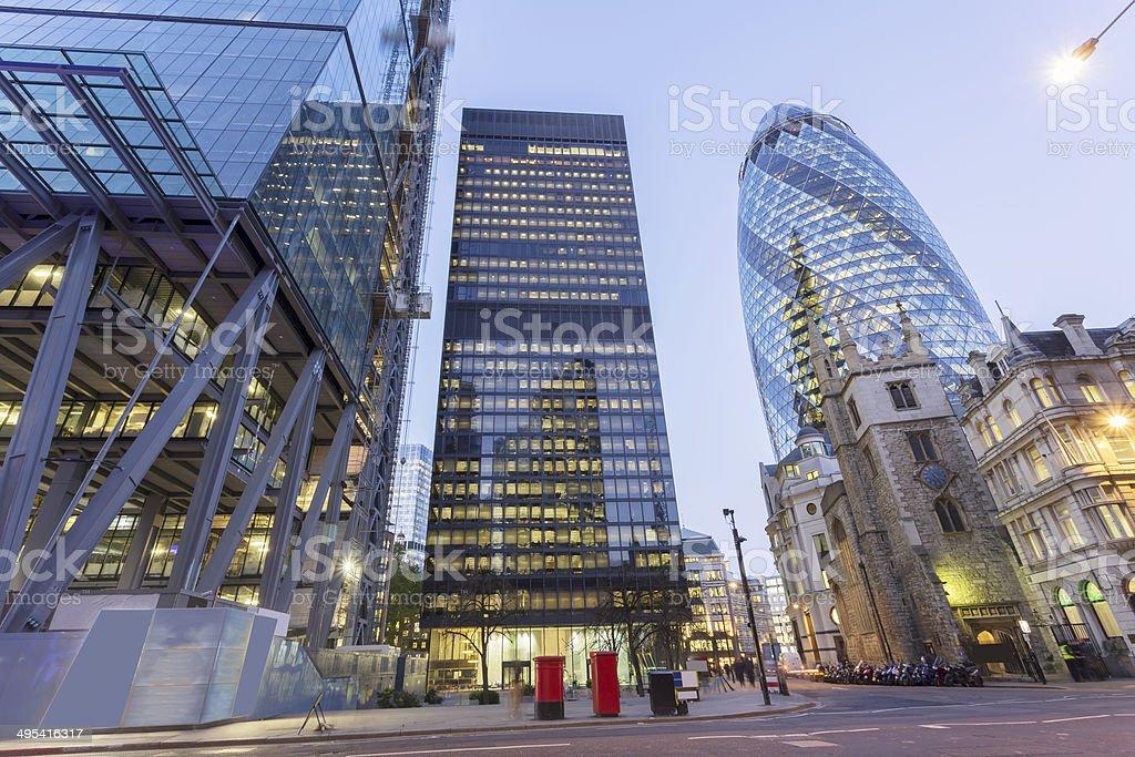City of London at dusk stock photo
