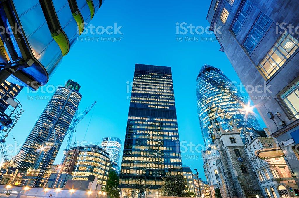 City of London at night. stock photo
