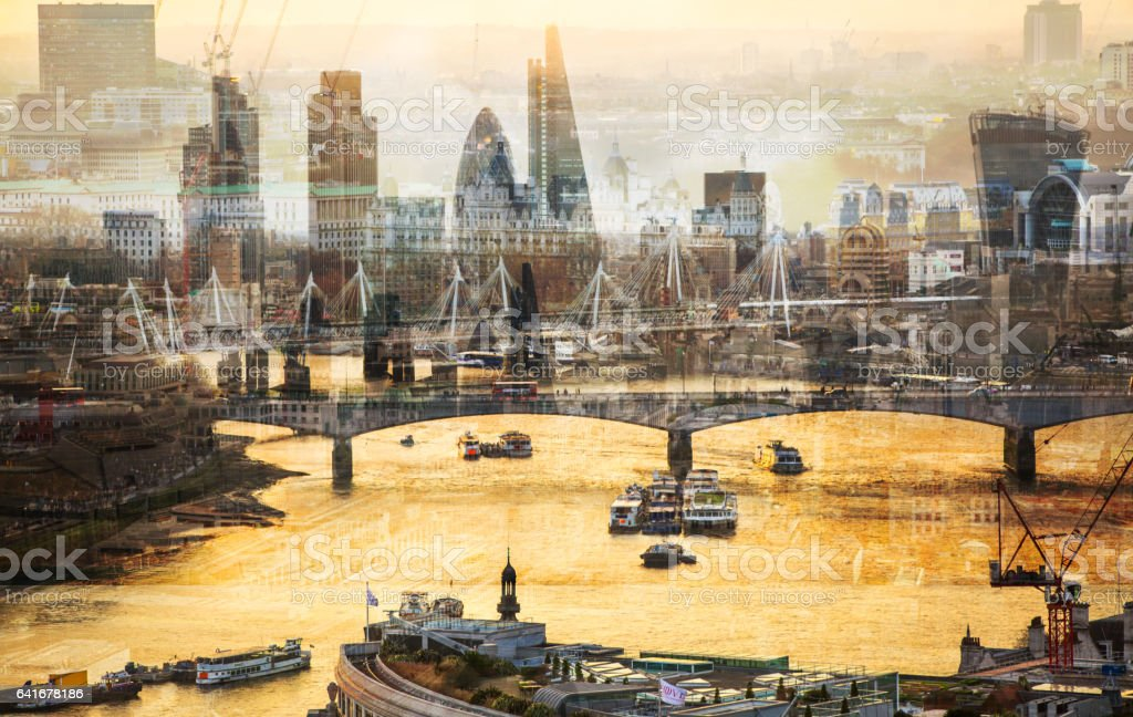 City of London at sunset, Multiple exposure image stock photo