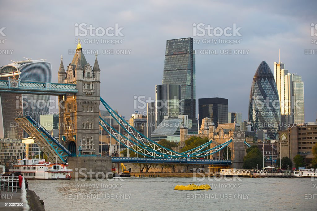 City of London, business and banking area at sunset stock photo