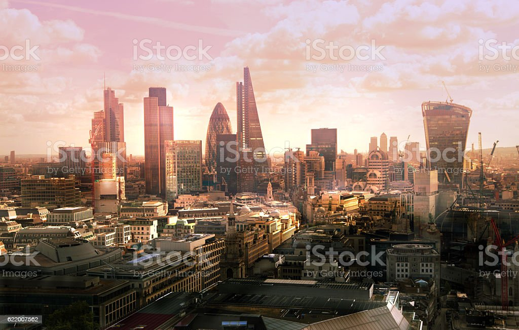 City of London business and banking aria at sunset stock photo