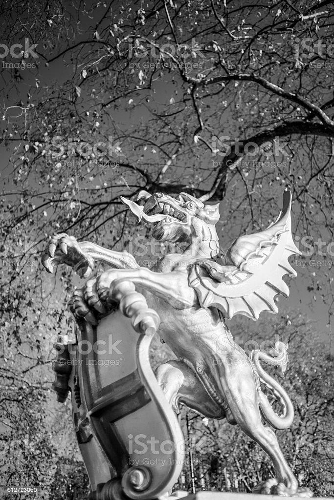 City of London Dragon Bounary Mark at Victoria Embankment stock photo