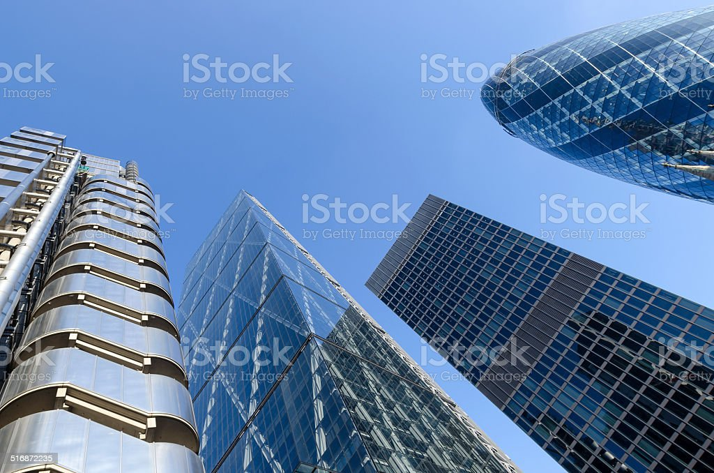 City of London global financial district skyscrapers stock photo