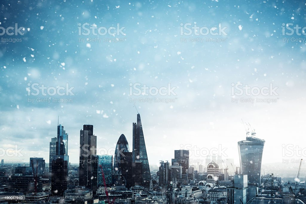 City Of London In Snow stock photo