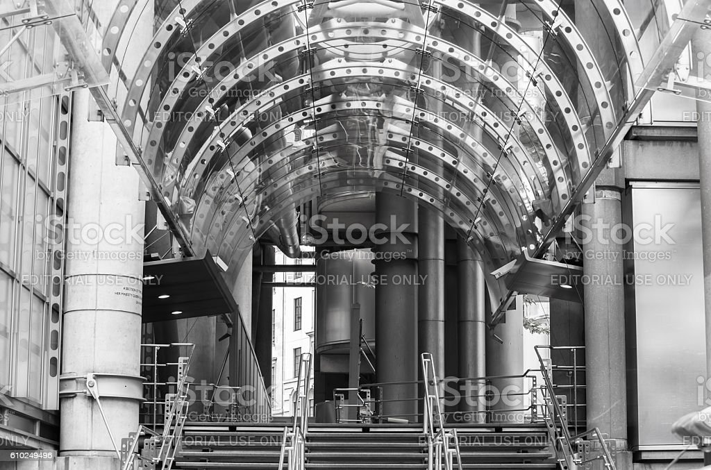 City of London, Lloyds bank main entrance stock photo