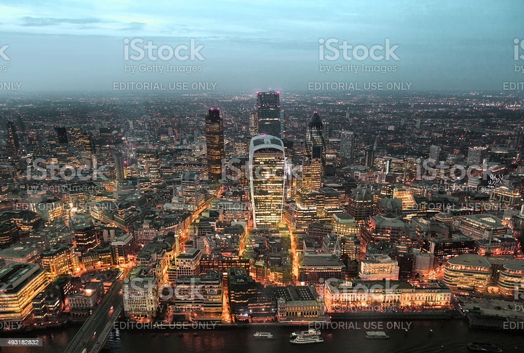 City of London. London's panorama at sun set. stock photo