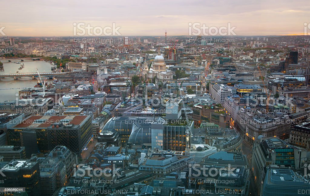 City of London. London's panorama at sun set. stock photo