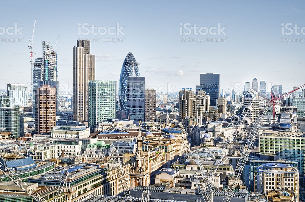 City of London and Canary Wharf stock photo