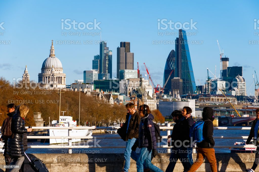 City of London seen from Waterloo Bridge stock photo