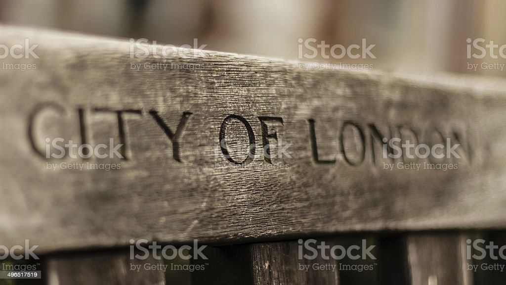 City of London sign on bench stock photo
