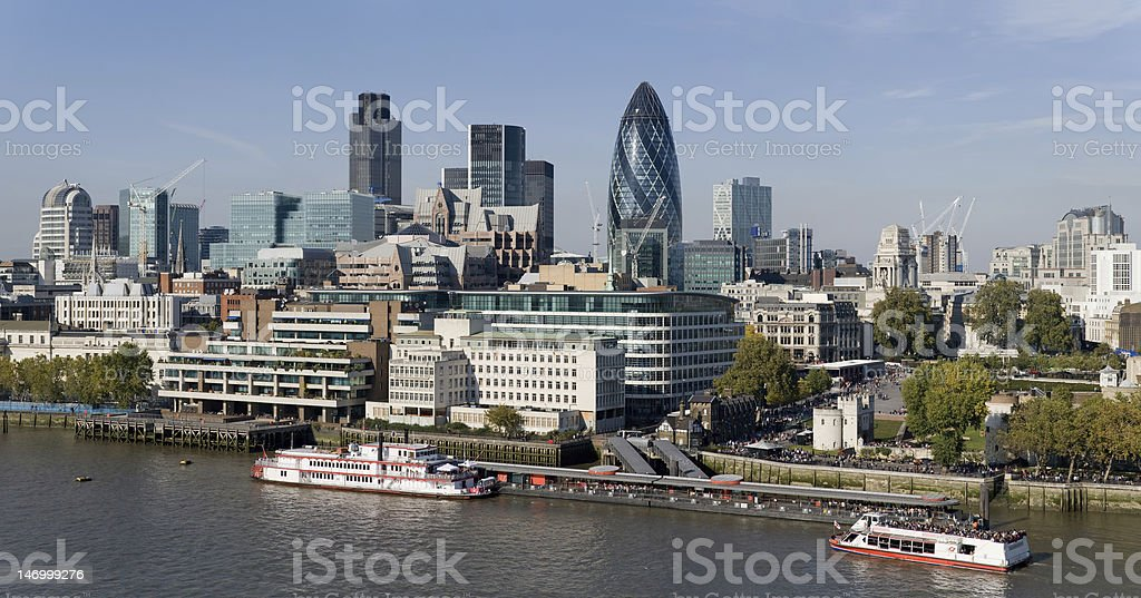 City of London skyline across the Thames royalty-free stock photo