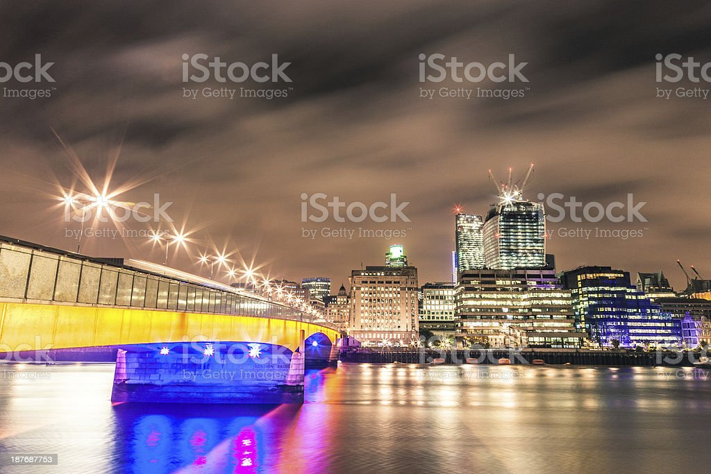 City of London skyline seen from River Thames royalty-free stock photo