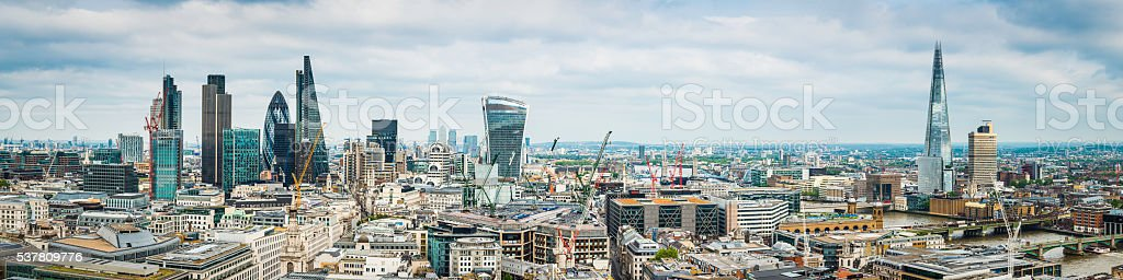 City of London skyscrapers and The Shard highrise cityscape panorama stock photo