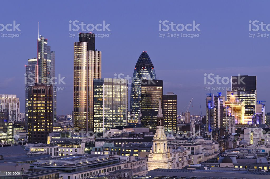 City of London skyscrapers at Dusk royalty-free stock photo