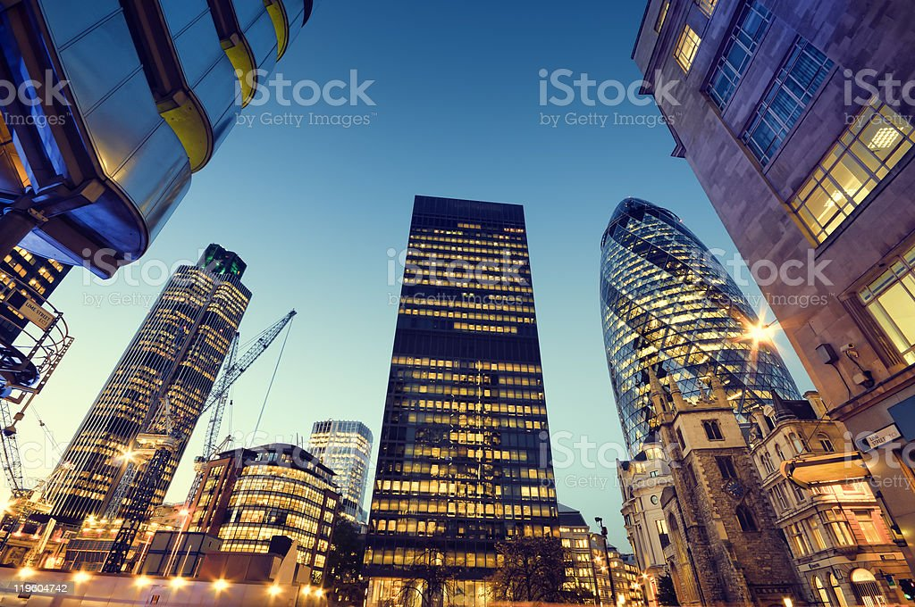 City of London skyscrapers at night stock photo