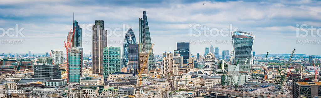 City of London skyscrapers Gherkin Cheesegrator Walkie Talkie towers panorama stock photo