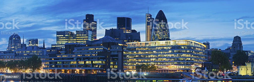 City of London skyscrapers illuminated panorama royalty-free stock photo