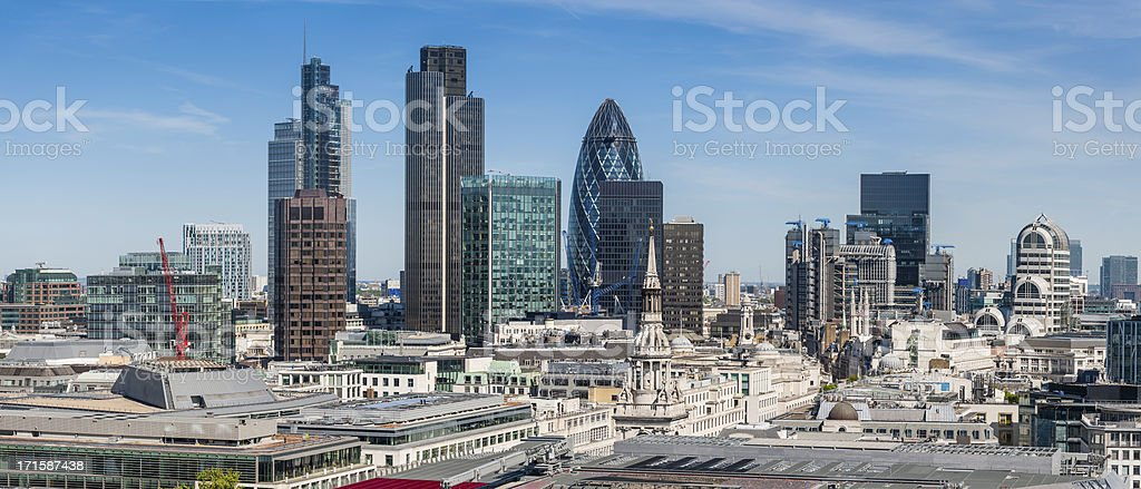 City of London Square Mile Financial District skyscrapers panorama royalty-free stock photo