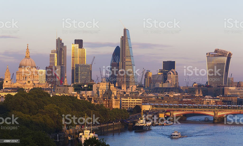 City of London view and River Thames England UK stock photo