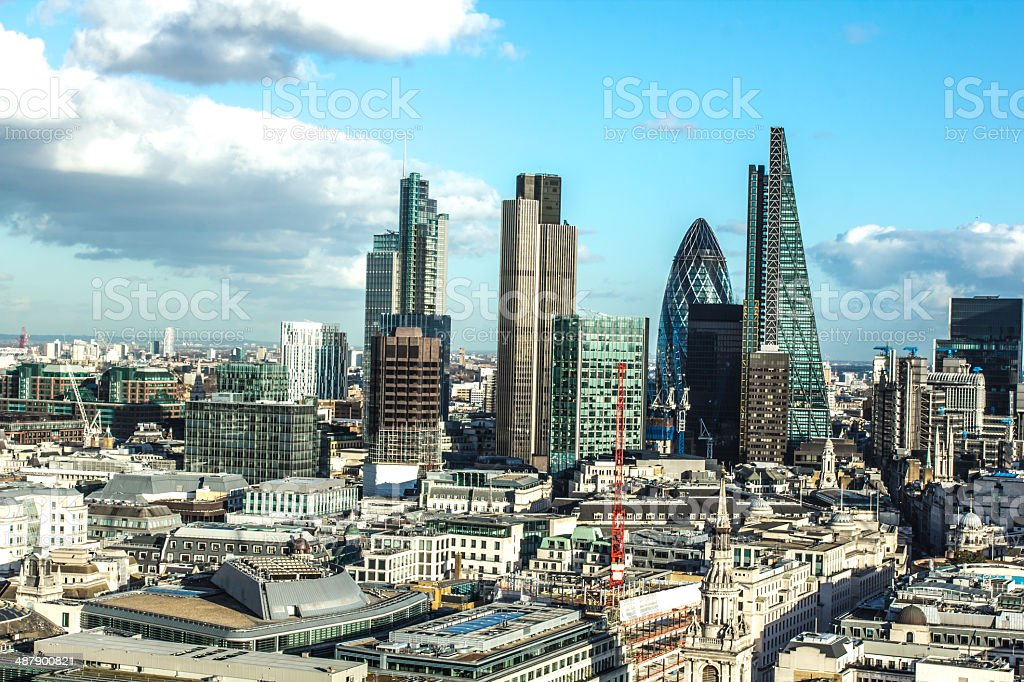 City of London view from St. Paul`s Cathedral stock photo