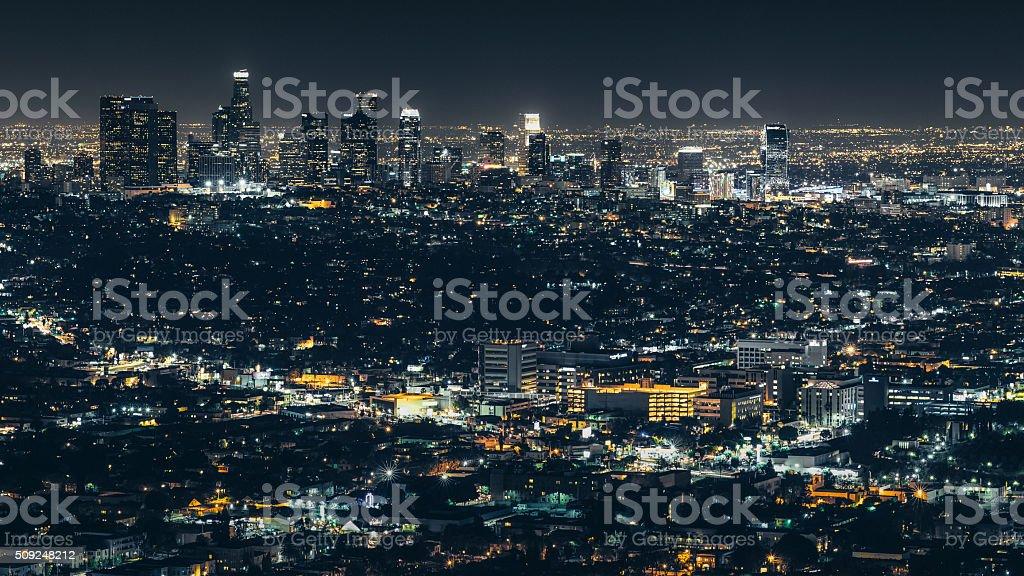 City of Los Angeles at night stock photo