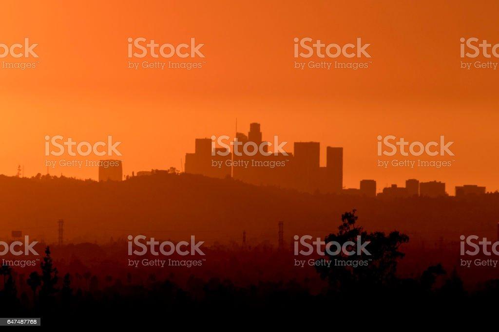 City of Los Angeles sunset glow stock photo