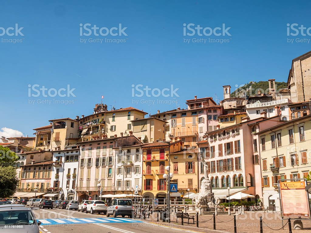 City of Lovere at lake Iseo, Italy stock photo