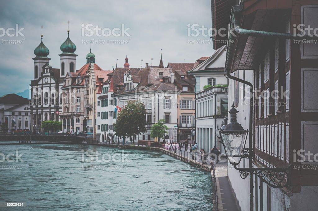 City of Luzern View with Lake, Switzerland stock photo