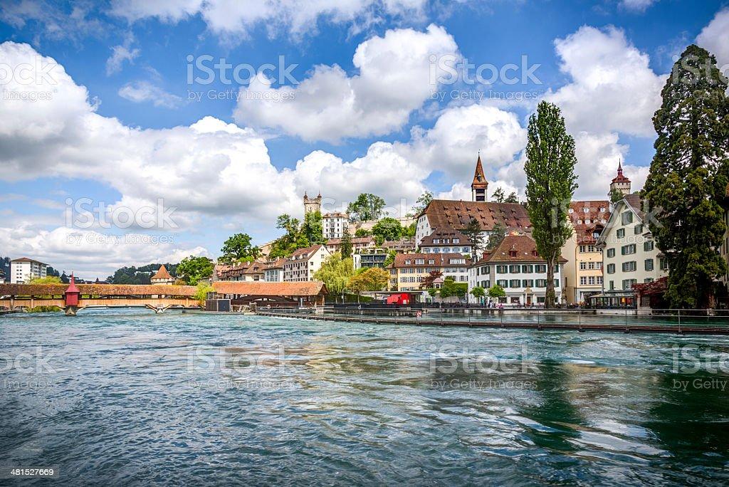 City of Luzern with Swan on Lake, Switzerland stock photo