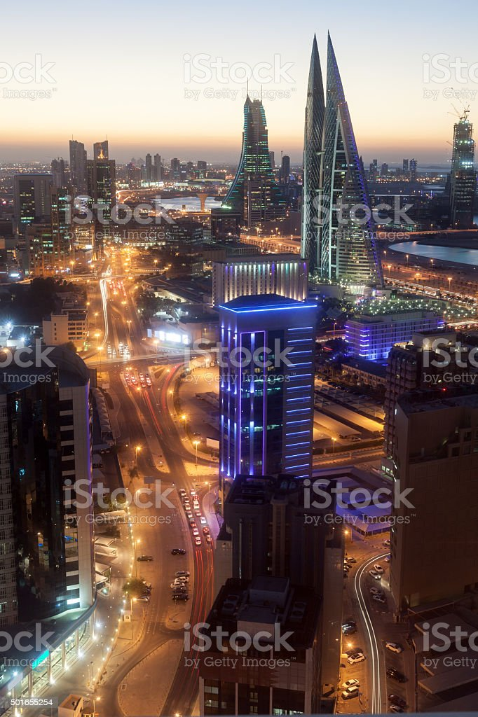 City of Manama at night, Bahrain stock photo