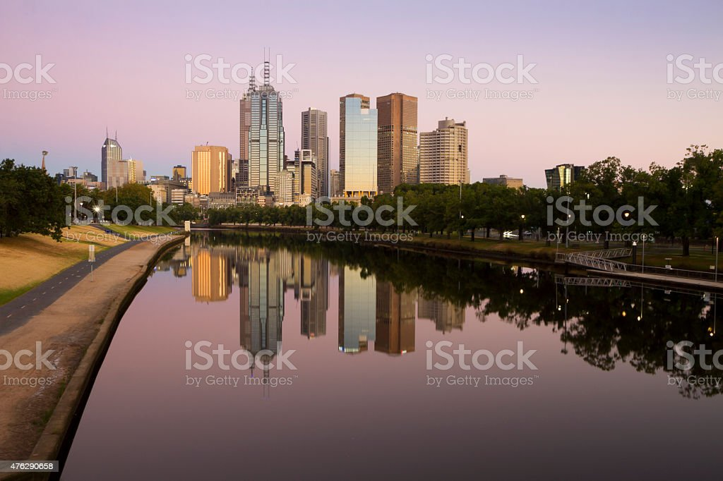 City of Melbourne and the Yarra River at dawn stock photo