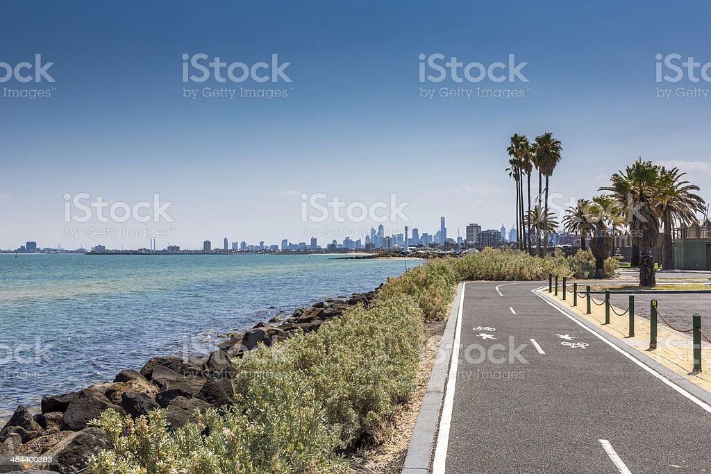 City of Melbourne View From St Kilda Beach, Australia stock photo