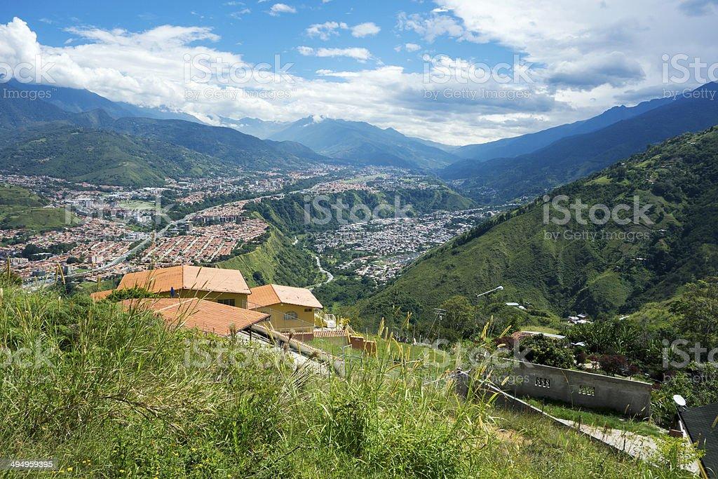 City of Merida seen from a hill, Venezuela stock photo
