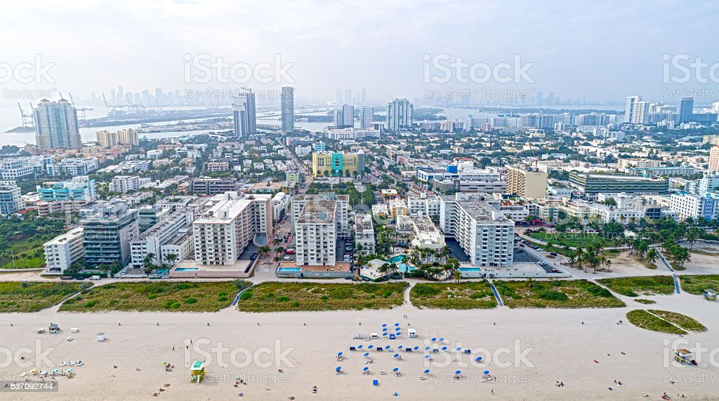 City of Miami Beach Florida Aerial Perspective stock photo