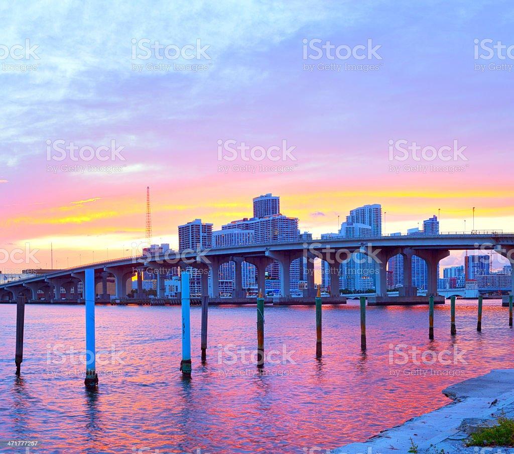 City of Miami Florida, colorful sunset panorama stock photo