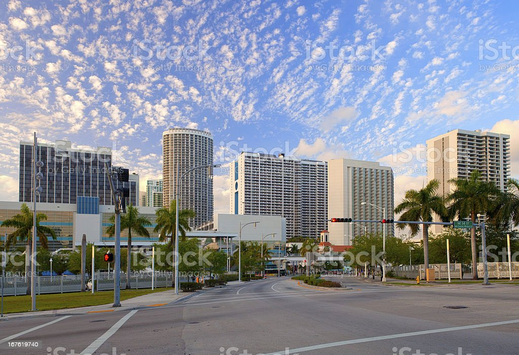 City of Miami Florida, downtown buildings panorama stock photo